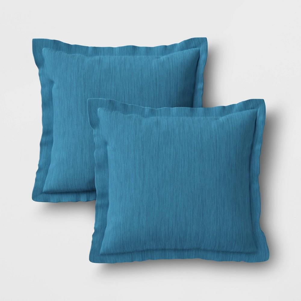 Image of 2pk Outdoor Throw Pillows DuraSeason Fabric Blue - Threshold