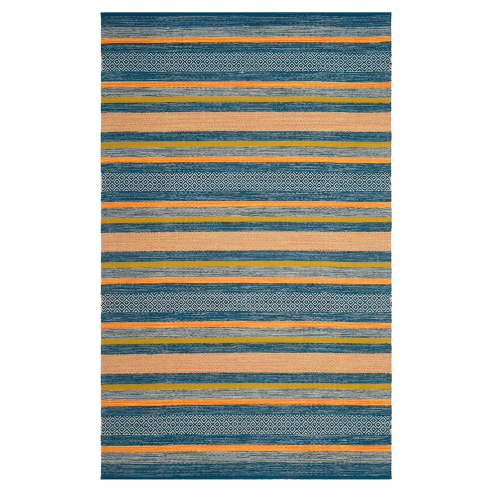 Blue/orange Stripe Woven Area Rug 5'X8' - Safavieh, Orange Blue