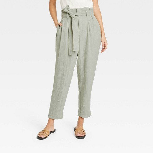 Women's High-Rise Paperbag Ankle Pants - A New Day™ - image 1 of 3