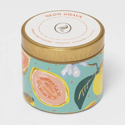 4oz Mini Patterned Tin Neon Guava Candle - Opalhouse™