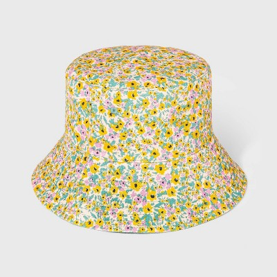 Girls' Reversible Floral Bucket Hat - Cat & Jack™ Yellow/Green