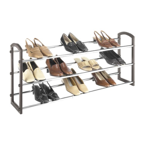 Whitmor Faux Leather 3 Tier Shoe Rack