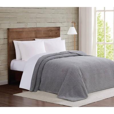 Twin XL Marshmallow Sherpa Bed Blanket Gray - Brooklyn Loom