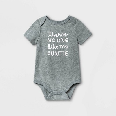 Baby Girls' 'Auntie' Short Sleeve Bodysuit - Cat & Jack™ Gray 0-3M