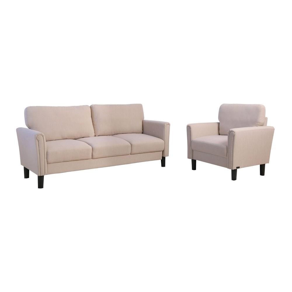 Image of 2pc Kason Fabric Sofa & Armchair Set Beige - Abbyson Living
