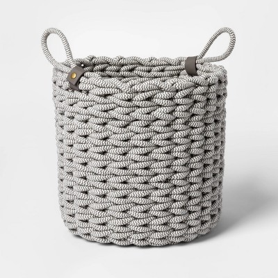 Small Coiled Rope Fishtail Weave Basket with Faux Leather Accent Gray - Project 62™