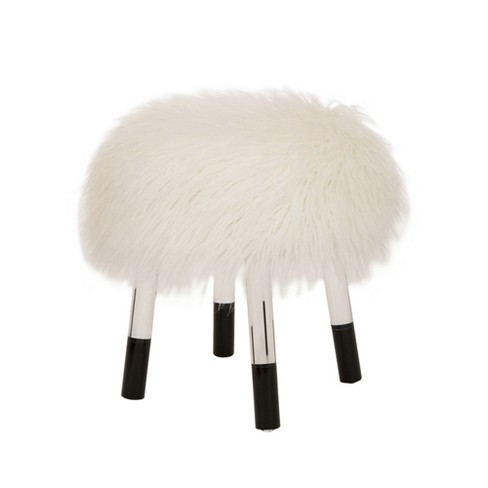 Faux Fur Acrylic Bench White - Glitzhome - image 1 of 5
