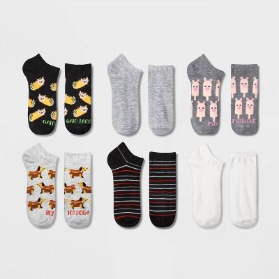 Women's Food and Animal 6pk Low Cut Socks - Xhilaration™ Black/White/Gray 4-10