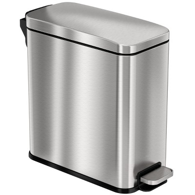 iTouchless SoftStep Step Pedal Bathroom Trash Can with AbsorbX Odor Filter 3 Gallon Silver Stainless Steel