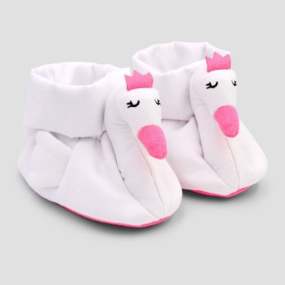 Baby Girls' Swan Crib Shoes - Cloud Island™ White 0-3M