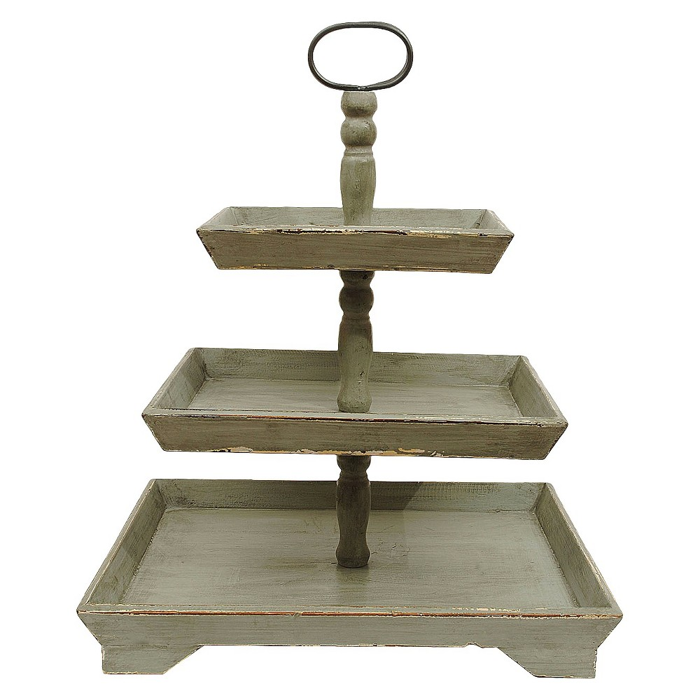 Tray 3Tiers -White (25-1/4), Distressed Grey