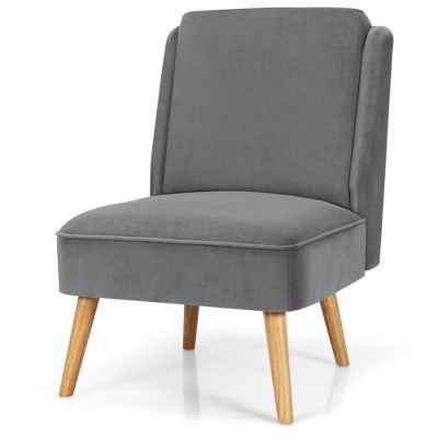 Costway Velvet Accent Chair Single Sofa Chair Leisure Chair with Wood Frame