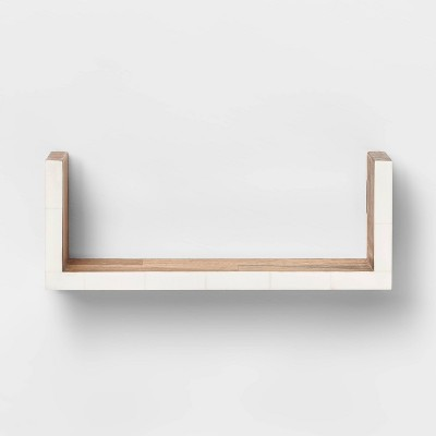 """12"""" x 4"""" Wall Shelf with Resin Inlay Natural/Ivory - Opalhouse™"""
