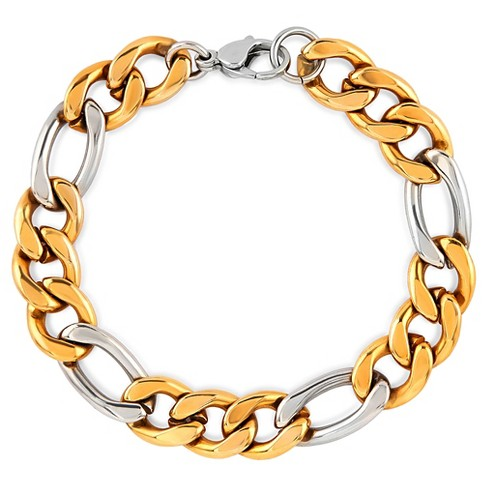 """Men's Crucible Gold Plated Two-Tone Stainless Steel Figaro Chain Bracelet (11.5mm) - Gold/Silver (8.75"""") - image 1 of 3"""