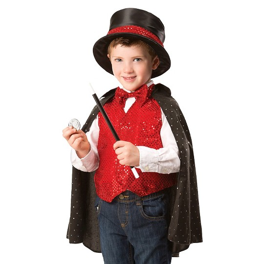 Melissa & Doug Magician Role Play Costume Set - Includes Hat, Cape, Wand, Magic Tricks, Adult Unisex image number null