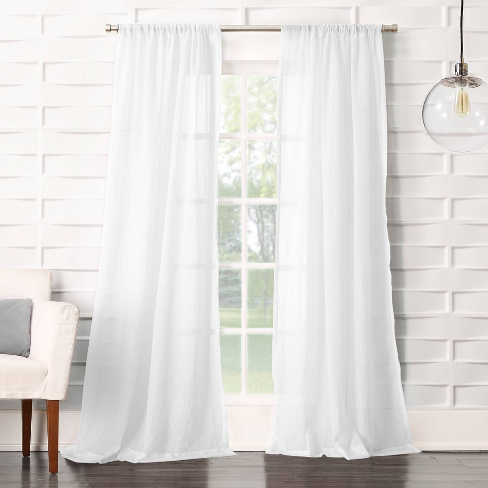 84 34 X50 34 Avril Crushed Textured Semi Sheer Rod Pocket Curtain Panel White No 918