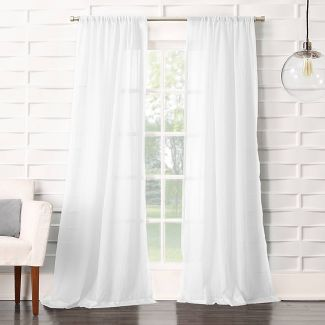 "108""x50"" Avril Crushed Texture Light Filtering Rod Pocket Curtain Panel White - No. 918"