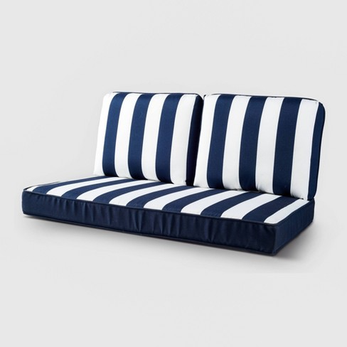 Rolston 3pc Loveseat Cushion - Dark Blue Stripe - Threshold™ - image 1 of 2
