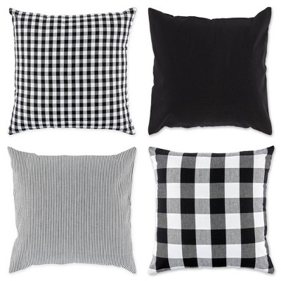 4pk Assorted Throw Pillow Covers Black/White - Design Imports