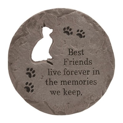 Transpac Stone 12 in. Gray Spring Cat Cutout Stepping Stone