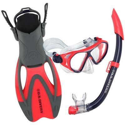 U.S. Divers Dorado II Junior Mask, ProFlex Fins, Seabreeze DX Snorkel Youth Set, Large Fins Fit Kids Sizes 5 to 8, Coral/Purple