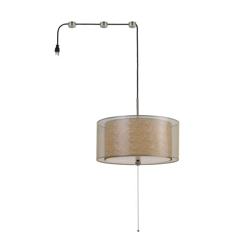 "Swag Drum Pendant Fixture With 15ft Cord With Plug And 3 Cord Hangers Clear 12.3""x24"" - Cal Lighting - image 1 of 2"
