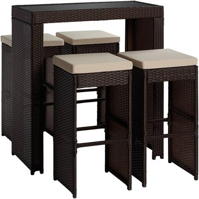 Teal Island Designs Port Henry Brown Rattan Outdoor Bar Table and Chair Set