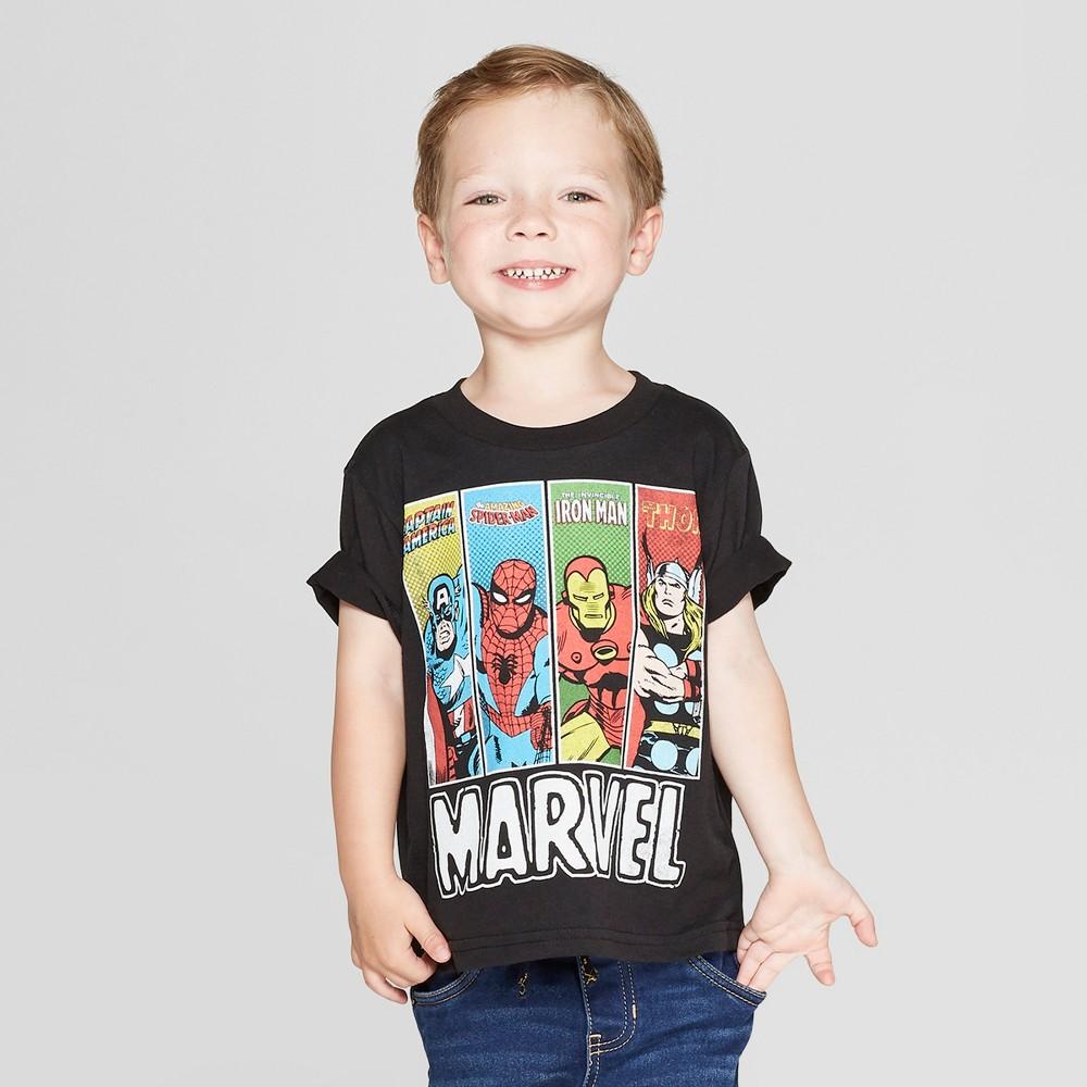 Toddler Boys' Marvel Short Sleeve T-Shirt - Black 4T