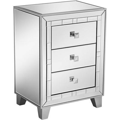 "Studio 55D Jazyln 19"" Wide Mosaic Trim Mirrored 3-Drawer Accent Table"