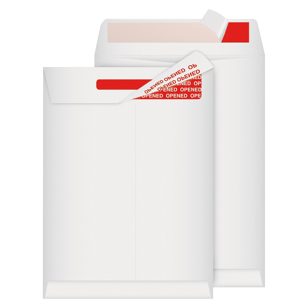Image of Quality Park Tamper-Indicating Mailers Made with Tyvek, #10 1/2, Flip-Stik Flap, Flap-Stik Closure, 9 x 12, White, 100/Box