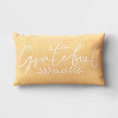 Lumbar Grateful Chambray Throw Pillow Yellow - Threshold™