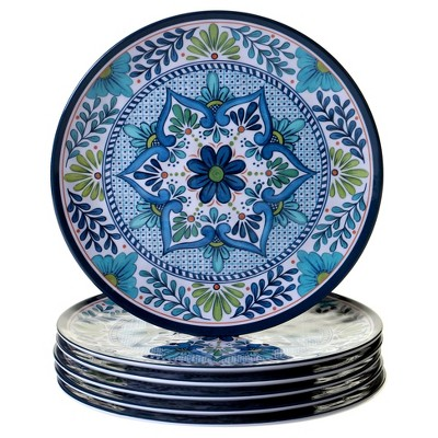 Certified International Talavera by Nancy Green Melamine Dinner Plates 11  Blue - Set of 6