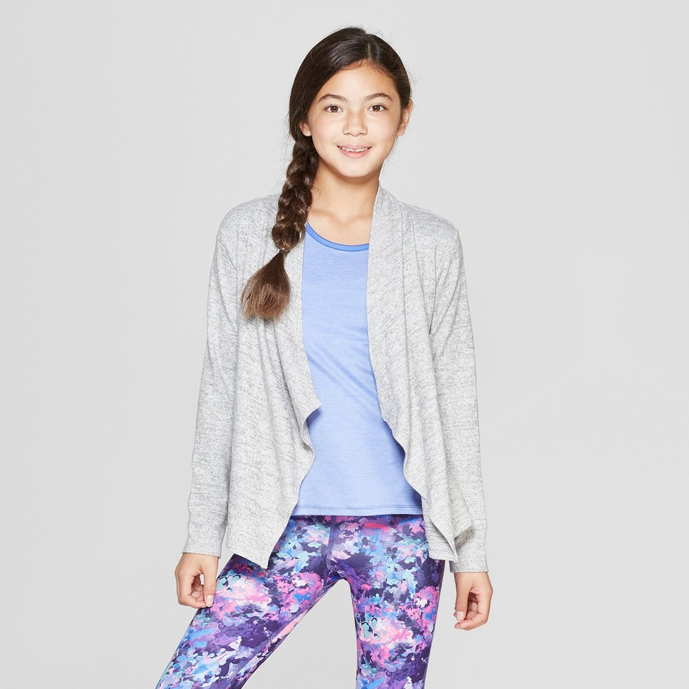 Image of Girls' Studio Cardigan - C9 Champion Heather Grey L, Girl's, Size: Large, Grey Grey