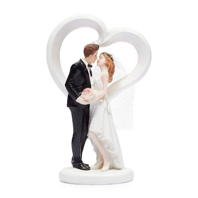 Sparkle and Bash Heart Shape Love Bride & Groom Figurines Wedding Cake Topper, Wedding Party Decorations Gifts