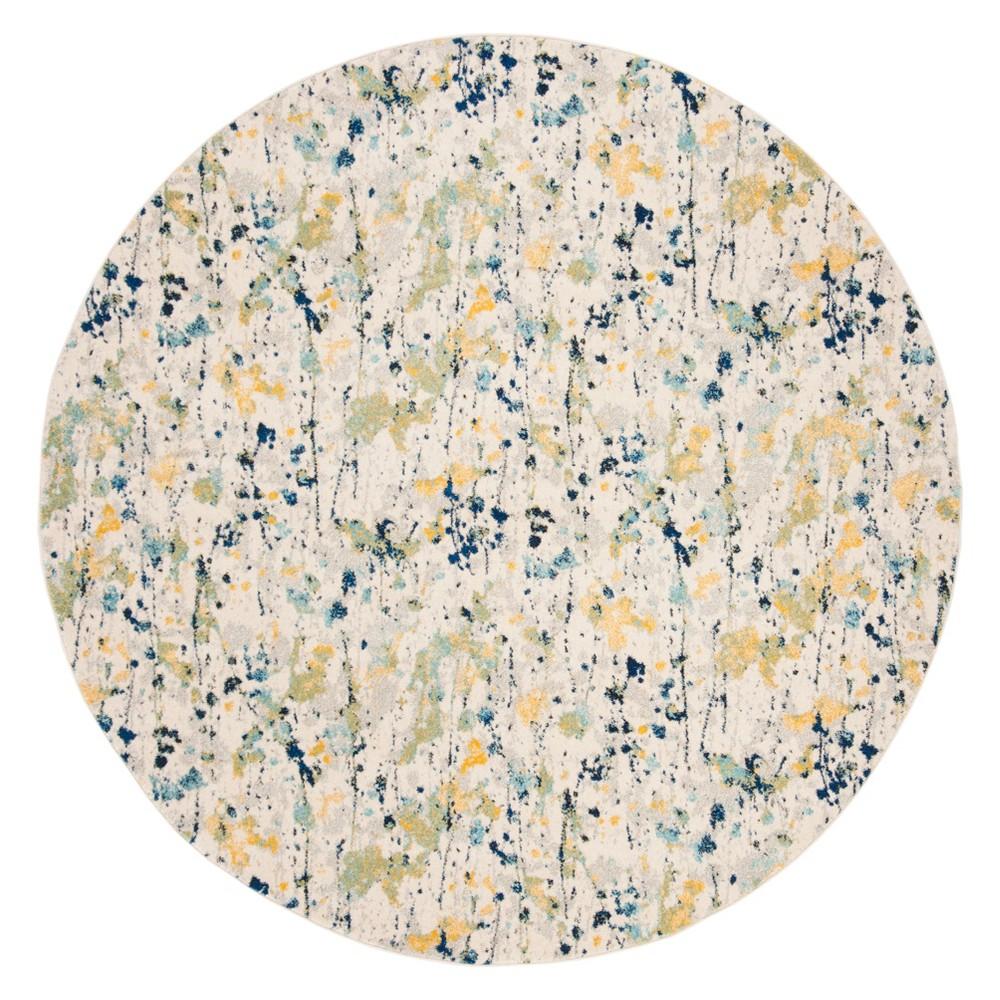 67 Splatter Loomed Round Area Rug Ivory/Yellow - Safavieh Price