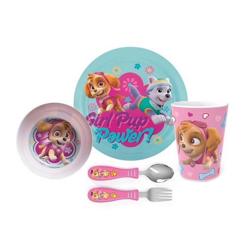 Zak Designs Kids 5-Piece Dinnerware Set Durable Melamine Plate Bowl Tumbler Stainless Steel Fork Spoon BPA-Free - image 1 of 4