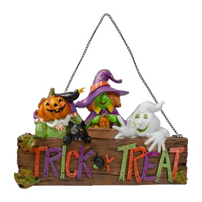 """Northlight 13.5"""" Trick or Treat Halloween Pumpkin, Ghost, and Witch Wall Decoration"""
