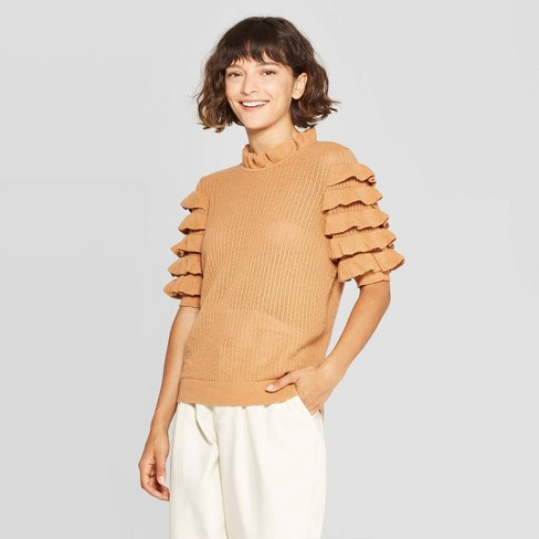 Women's Tiered Ruffle Elbow Sleeve Crewneck Pullover Sweater - Who What Wear™ - image 1 of 3