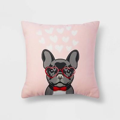 Square Dog Valentine's Day Pillow Pink -Spritz™