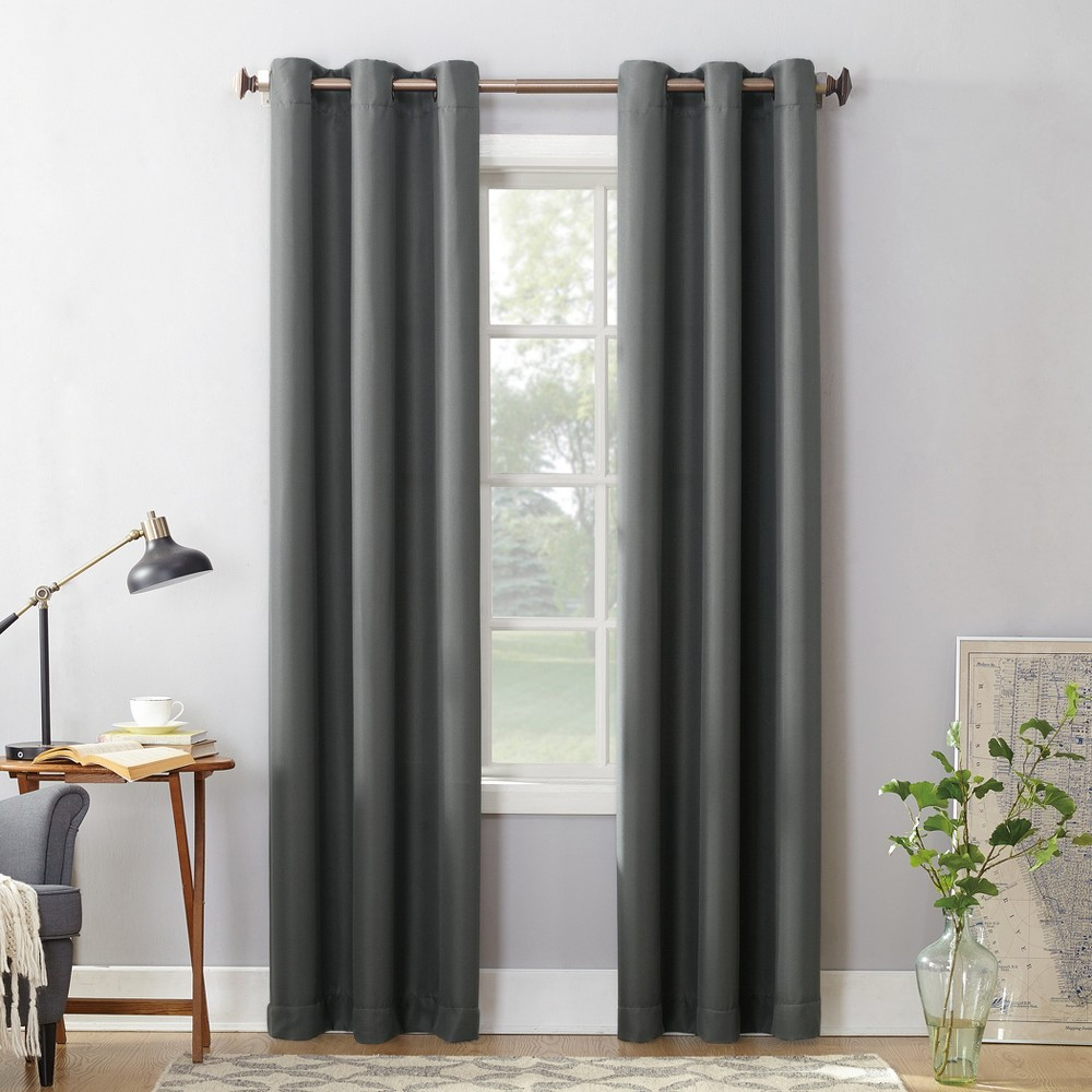 Montego Casual Textured Grommet Curtain Panel Charcoal (Grey) 48