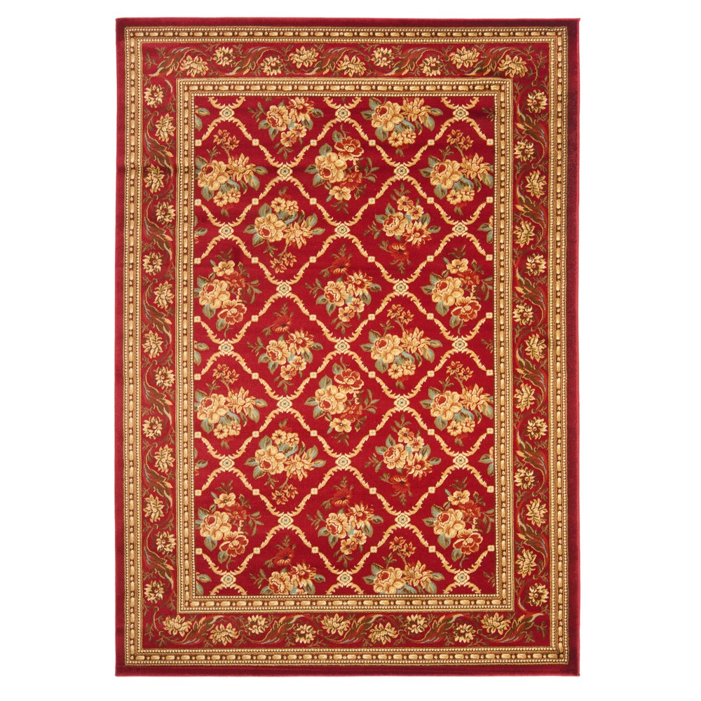 Red Floral Loomed Area Rug 5'3