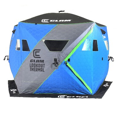 CLAM X500 Insulated 90 Gram Full Thermal Trap 63.5 Square Foot 5 Sided Lookout Outdoor Fishing Hunting Hub Tent Shelter with Flex-Tested Poles