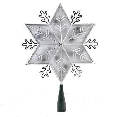 """Tree Topper Finial 11.0"""" Snowflake Silver/Clear Tree Topper Electric Led  -  Tree Toppers"""