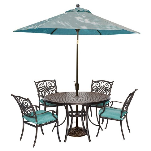 Seasons 6pc Round Metal Patio Dining Set with Umbrella & Stand - Blue - Hanover - image 1 of 7