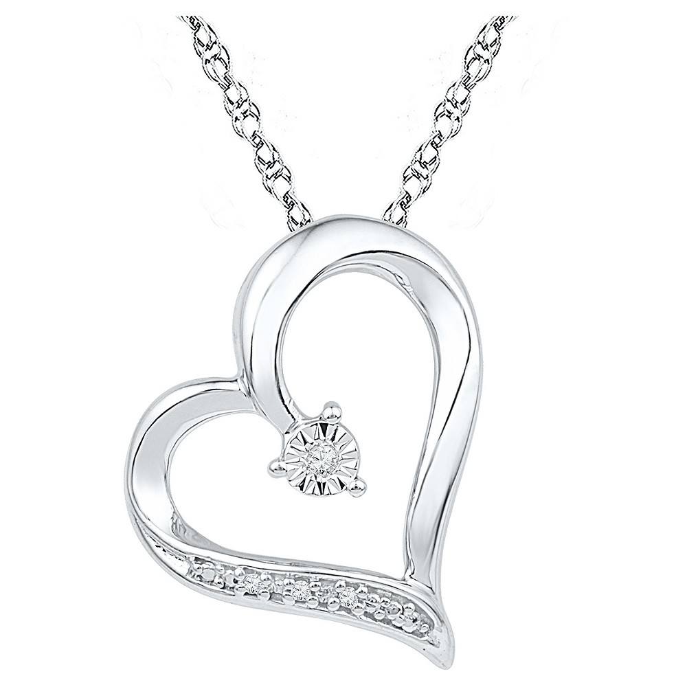 Image of Diamond Accent Round White Diamond Prong & Miracle Set Heart Pendant in Sterling Silver (I-J,I2-I3), Women's