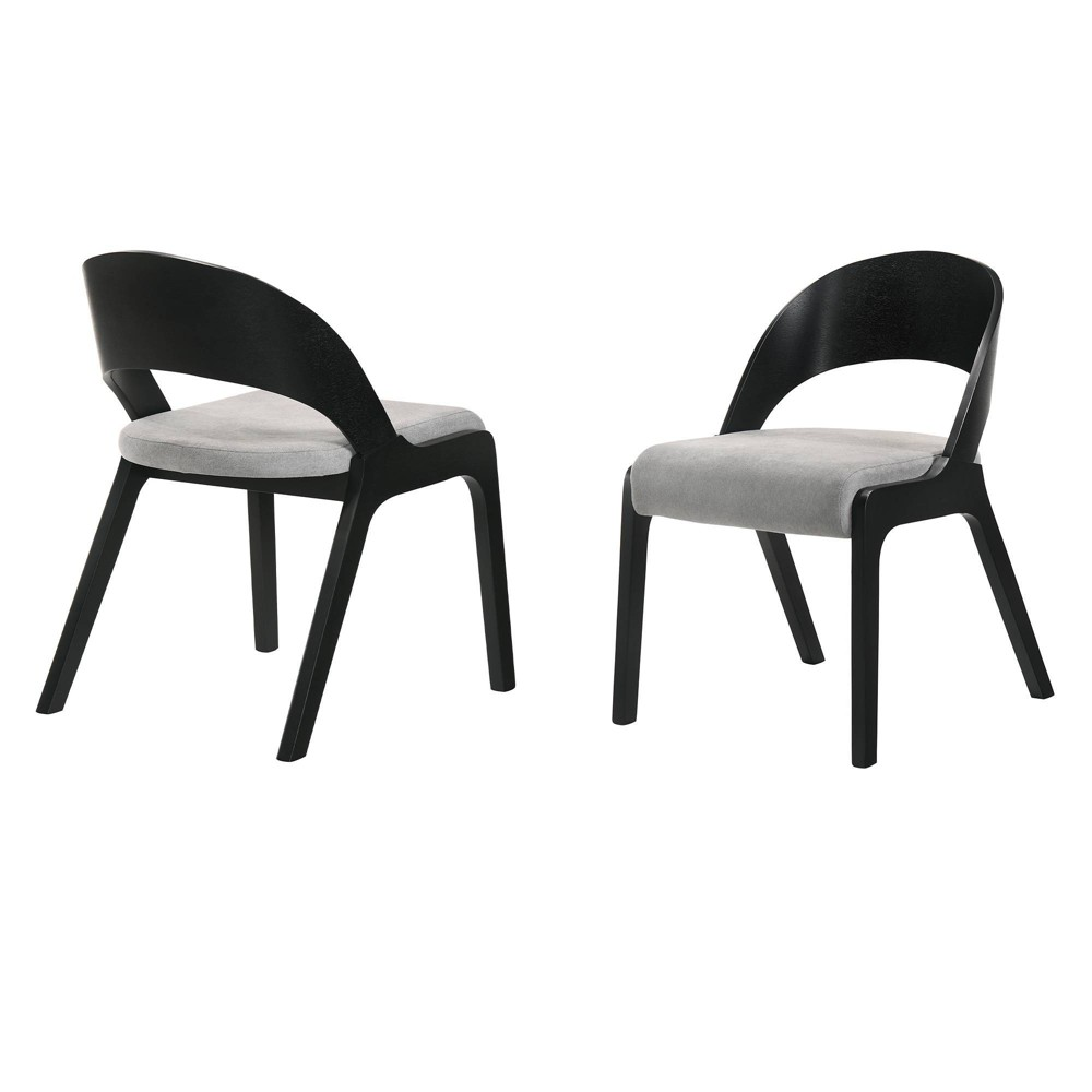 Set of 2 Polly Mid-Century Upholstered Dining Chairs Black Finish - Armen Living The Armen Living Polly dining chairs lend themselves to the mid-century modern style with the open rounded back and seamless wooden frame. These stylish chairs easily work in any room in your home. Sold as a set of 2, the Polly dining chairs can be used as accent chairs or dining chairs. The Armen Living Polly dining chairs are available in a Black or Walnut finish. Color: Black Finish. Pattern: Solid.