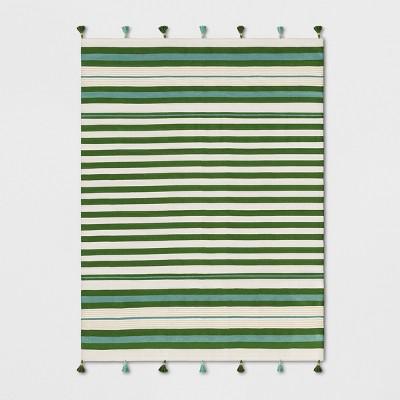 7'X10' Striped Tasseled Woven Area Rug Teal Green - Opalhouse™