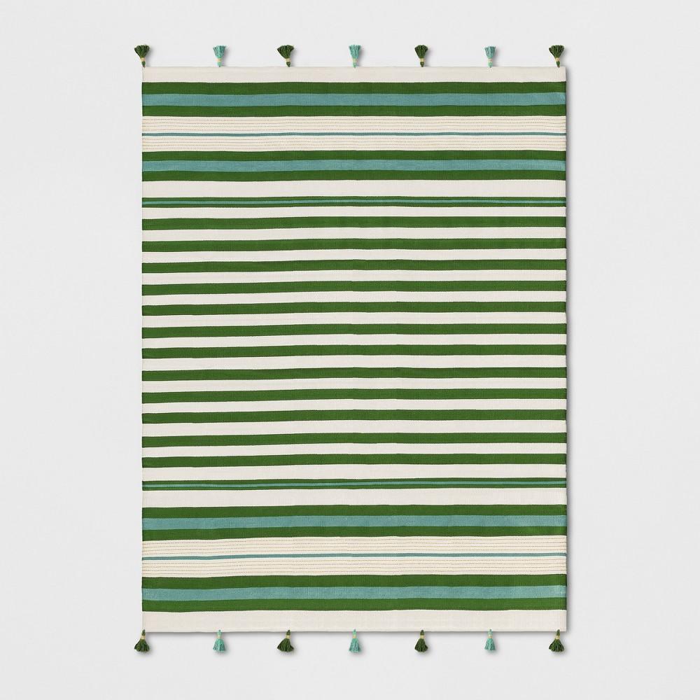 Teal Green Striped Tasseled Woven Area Rug 7'X10' - Opalhouse