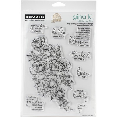 "Hero Arts + Gina K 6""X8"" Stamp Set-Friendship Blooms"
