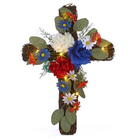 Lakeside Battery Operated Lighted Wall Hanging Floral Accent Cross - image 1 of 3
